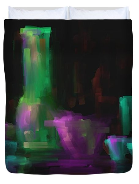 Duvet Cover featuring the painting Digital Glass by Steven Lebron Langston