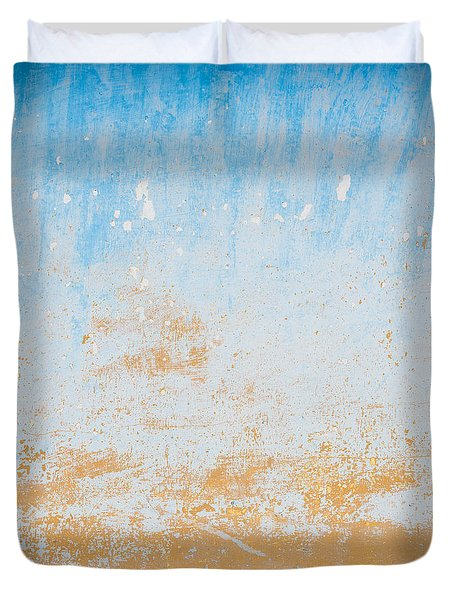 Dilapidated Beige And Blue Wall Texture Duvet Cover