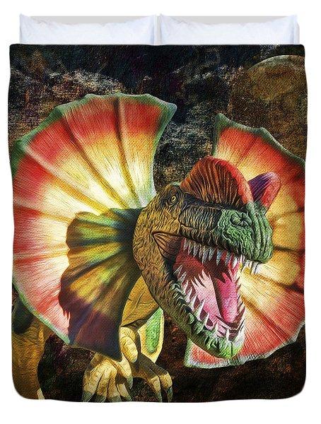 Dilophosaurus Spitting Dinosaur Duvet Cover