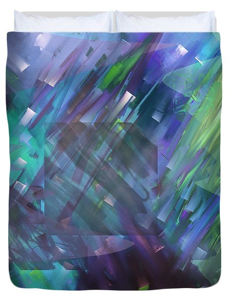 Duvet Cover featuring the digital art Dimensional Chill by Kristen Fox