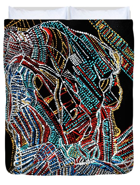 Duvet Cover featuring the painting Dinka Warrior by Gloria Ssali