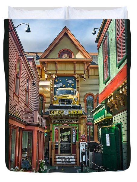 Dinks Taxi In Bar Harbor Duvet Cover