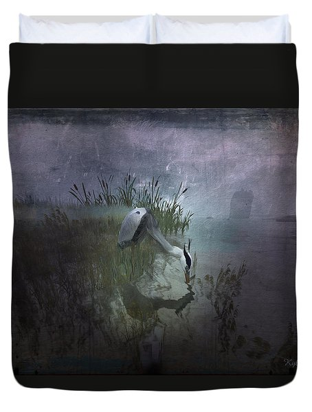 Duvet Cover featuring the digital art Dinner Alone by Kylie Sabra