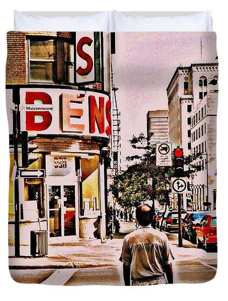 Dinner For Two Ben's Restaurant Downtown Scenes Montreal Memories Corner De Maisonneuve Duvet Cover by Carole Spandau