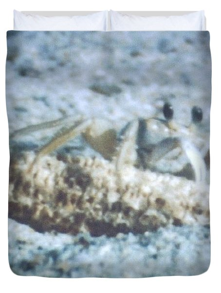 Duvet Cover featuring the photograph Beach Crab Snacking by Belinda Lee
