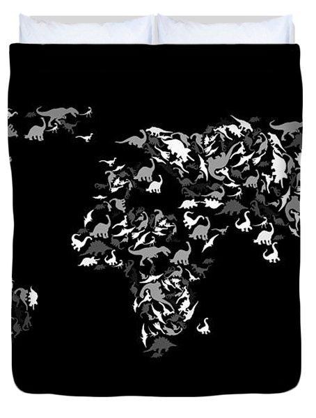 Dinosaur Map Of The World 3 Duvet Cover by Mark Ashkenazi