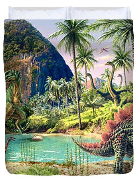 Dinosaur Volcanos Duvet Cover by Steve Read
