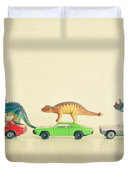 Dinosaurs Ride Cars Duvet Cover