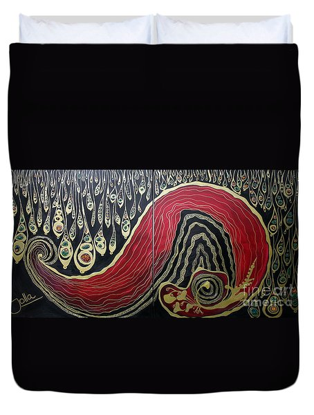 Dipped In Gold Diptich Duvet Cover by Jolanta Anna Karolska
