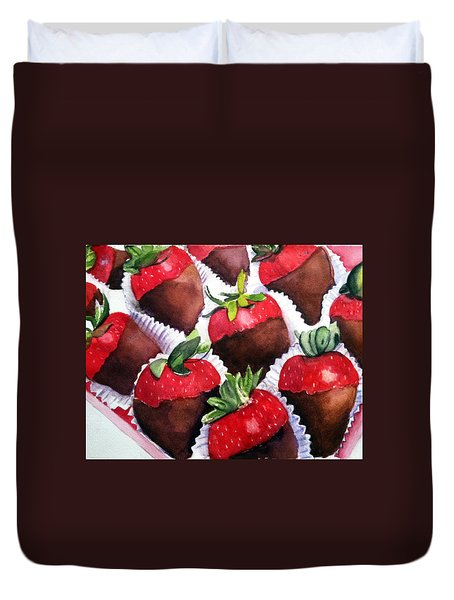 Dipped Strawberries Duvet Cover