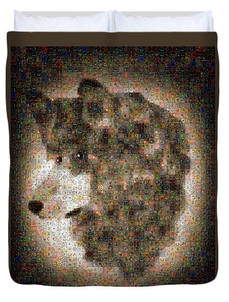 Duvet Cover featuring the painting Dire Wolf Mosaic by Paula Ayers