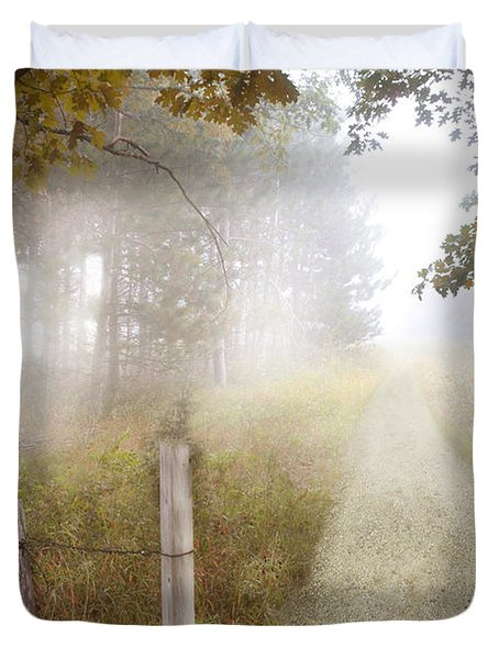 Dirt Road In Fog Duvet Cover