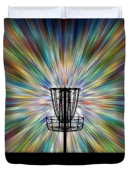 Disc Golf Basket Silhouette Duvet Cover