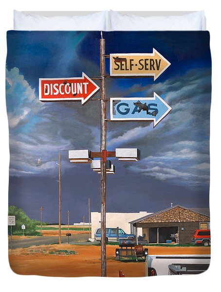 Discount Self-serv Gas Duvet Cover by Karl Melton