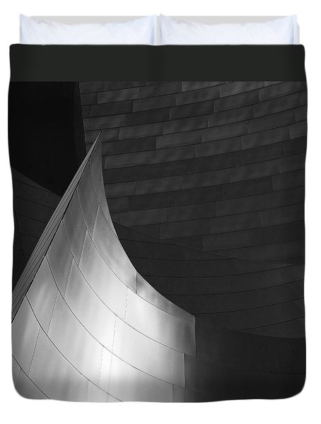 Disney Hall Abstract Black And White Duvet Cover by Rona Black