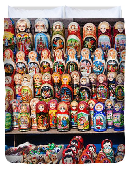 Display Of The Russian Nesting Dolls Duvet Cover by Panoramic Images