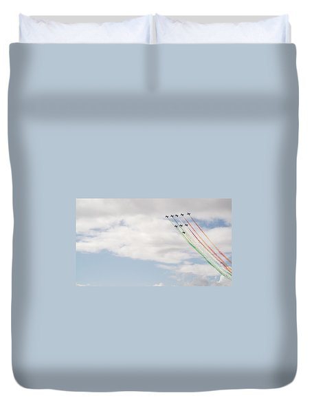 Duvet Cover featuring the photograph Displaying The Flag by Tracey Williams
