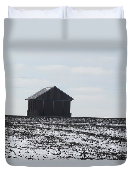 Duvet Cover featuring the photograph Distant Local Train Depot by Tina M Wenger