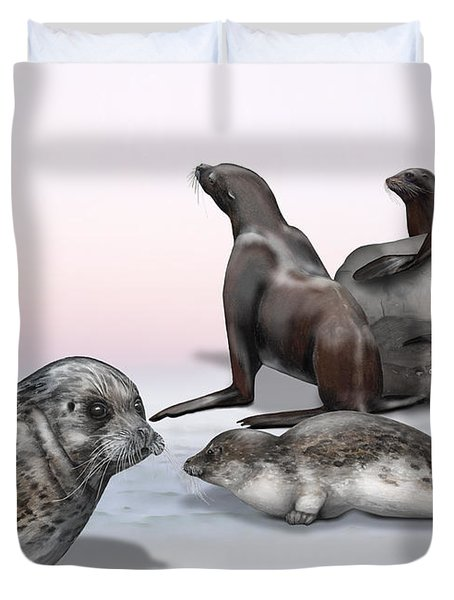 Distinguishing Marks - Eared Seals Otariidae And Earless Seals Phocidae - Zoo Interpretiation Panels Duvet Cover