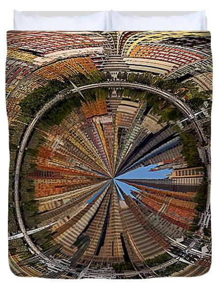 Distorted Lower Manhattan Duvet Cover by Susan Candelario