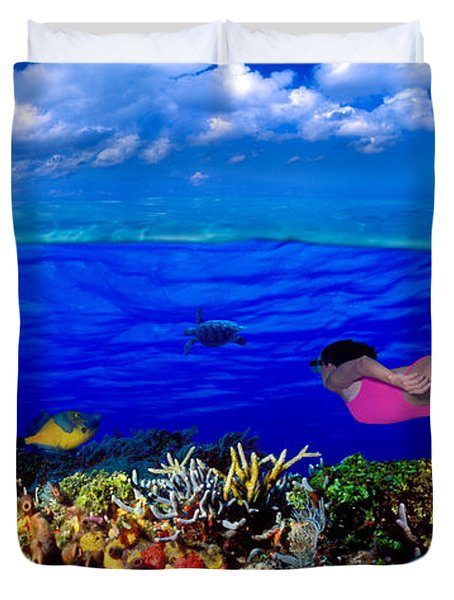 Diver Along Reef With Parrotfish, Green Duvet Cover