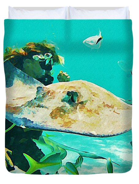 Diver And Stingray Duvet Cover by John Malone