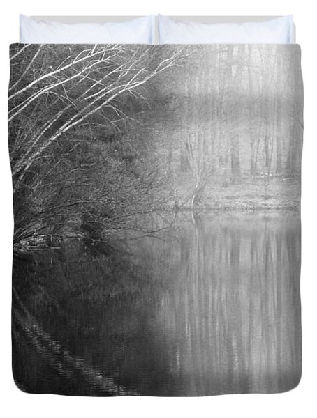 Divided By Nature Bw Duvet Cover by Karol Livote
