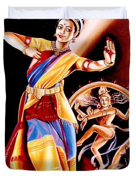 Duvet Cover featuring the painting Divine Dance Of Kuchipudi by Ragunath Venkatraman