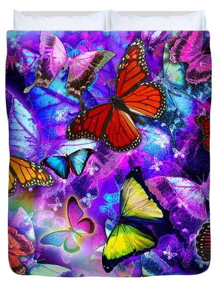 Dizzy Colored Butterfly Explosion Duvet Cover by Alixandra Mullins