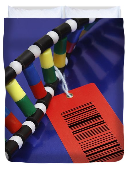 Dna Double Helix With Barcode Duvet Cover