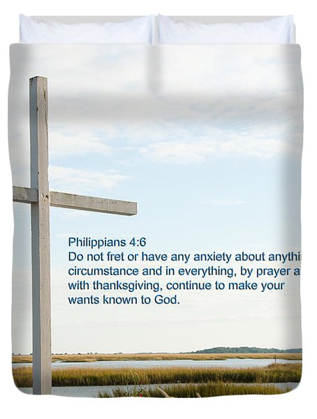 Belin Church Cross At Murrells Inlet With Bible Verse Duvet Cover