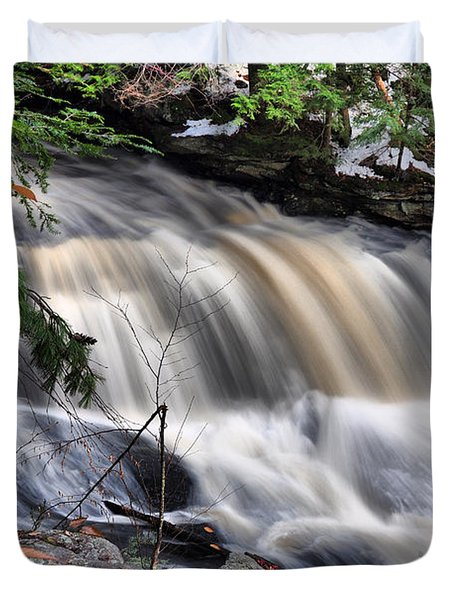 Duvet Cover featuring the photograph Doane's Lower Falls In Central Mass. by Mitchell R Grosky