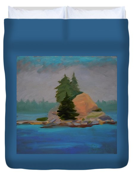 Duvet Cover featuring the painting Pork Of Junk by Francine Frank