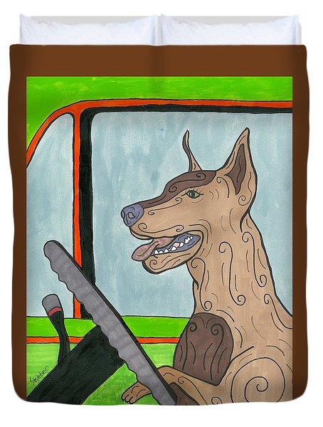 Doberman Driving Duvet Cover