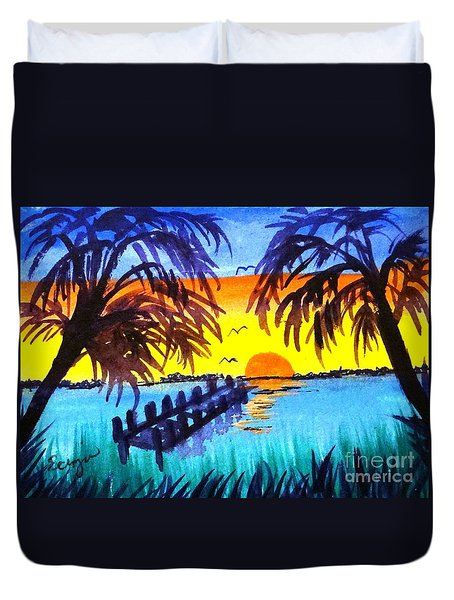 Duvet Cover featuring the painting Dock At Sunset by Ecinja Art Works