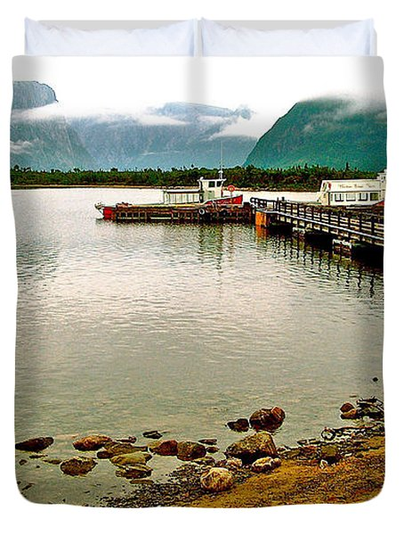 Dock At Western Brook Pond In Gros Morne Np-nl Duvet Cover
