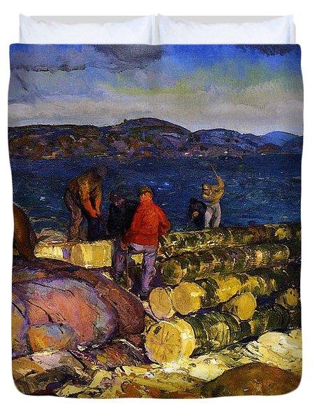 Dock Builders Duvet Cover by George Wesley Bellows