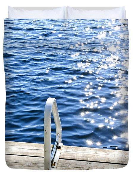 Dock On Summer Lake With Sparkling Water Duvet Cover by Elena Elisseeva