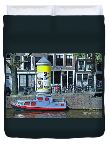 Duvet Cover featuring the photograph Docked In Amsterdam by Allen Beatty