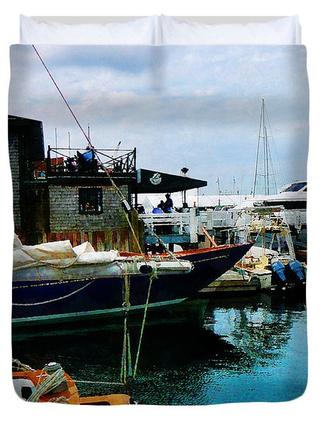 Docked Boats In Newport Ri Duvet Cover by Susan Savad
