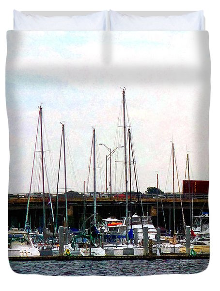 Docked Boats Norfolk Va Duvet Cover by Susan Savad