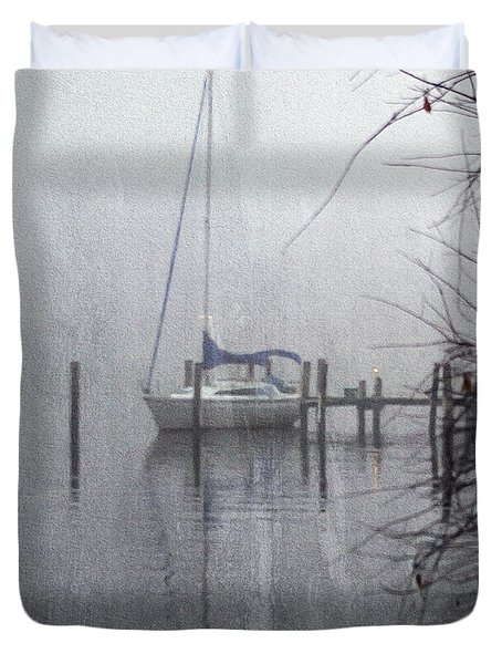 Docked In The Fog - Texture Effect Duvet Cover by Brian Wallace