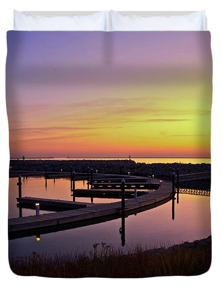 Docks At Sunrise Duvet Cover by Jonah  Anderson