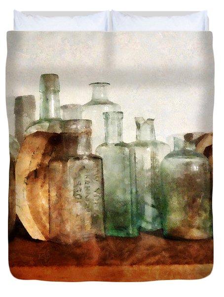 Doctor - Row Of Medicine Bottles Duvet Cover by Susan Savad