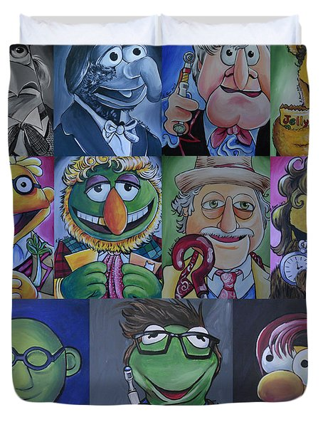 Doctor Who Muppet Mash-up Duvet Cover by Lisa Leeman