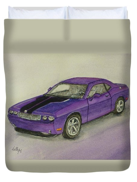 Duvet Cover featuring the painting Dodge Challenger 2010 by Kelly Mills