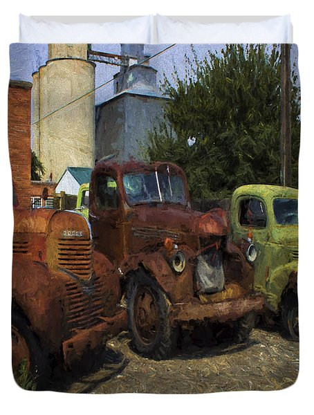 Duvet Cover featuring the digital art Dodge International 1950's Trucks by Cathy Anderson