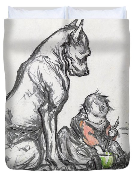 Dog And Child Duvet Cover by Robert Noir