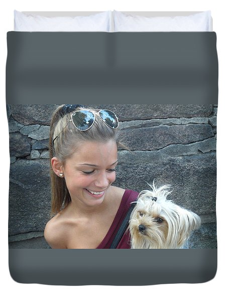 Duvet Cover featuring the photograph Dog And True Friendship 4 by Teo SITCHET-KANDA