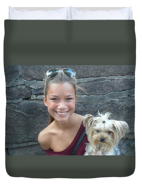 Duvet Cover featuring the photograph Dog And True Friendship 5 by Teo SITCHET-KANDA